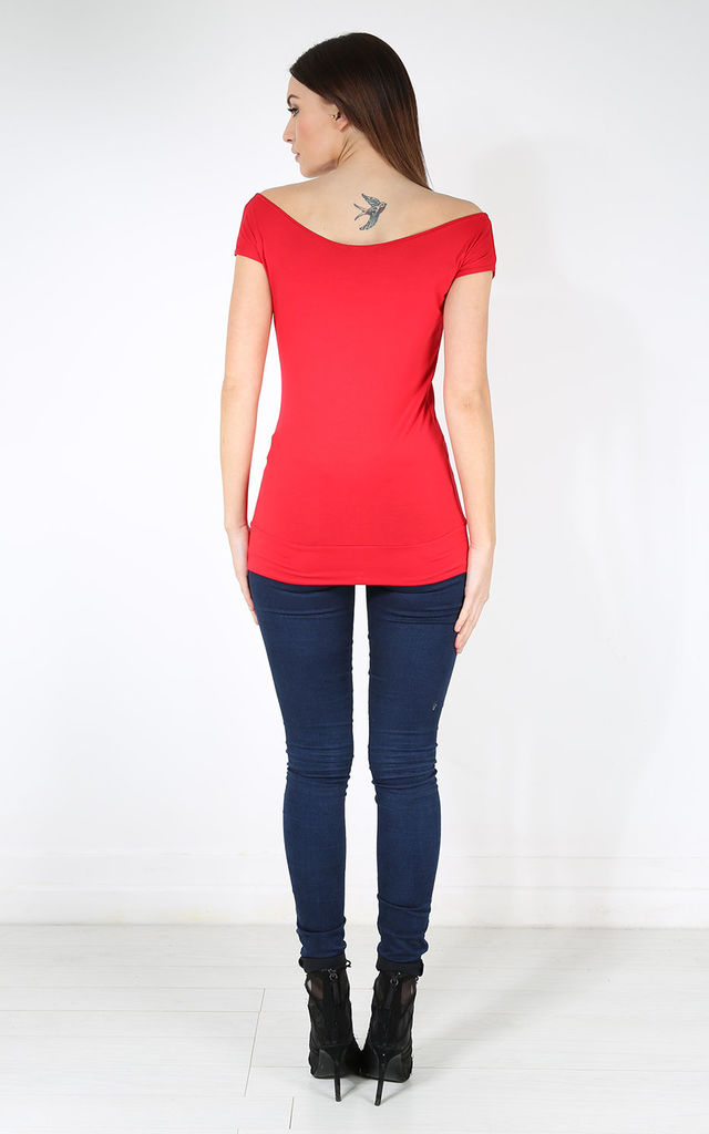 Paige Off Shoulder Short Sleeve Tshirt In Red by Oops Fashion