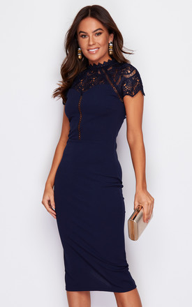 Norah High Neck Crochet Cap Sleeve Midi Dress Navy by Girl In Mind Product photo