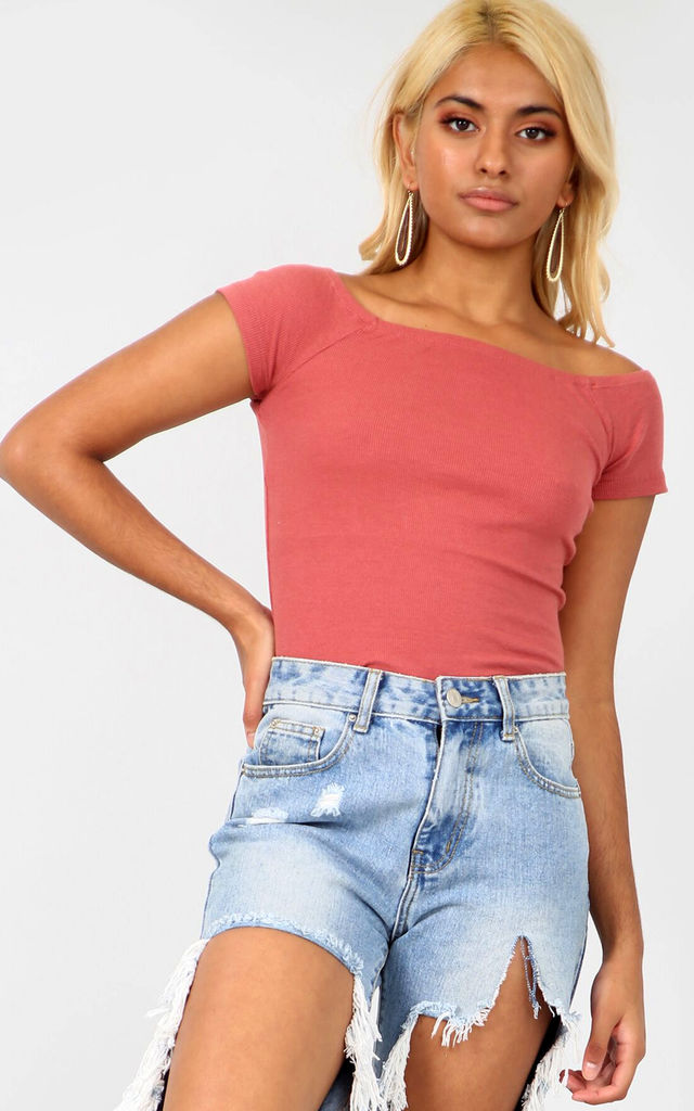 Off The Shoulder Rose Pink Ribbed Knit Top by Oops Fashion