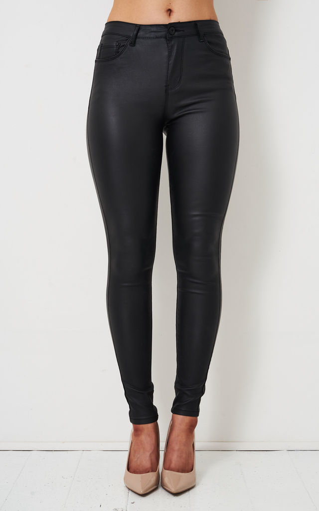 Ari High Rise Super Skinny Jeans in Black Leather Look by love frontrow
