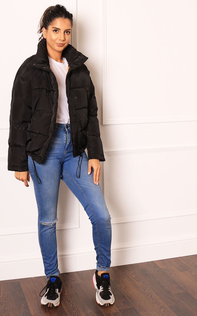Oversized Short Padded Puffer Jacket in Black by One Nation Clothing