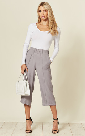 Grey Fitted Cropped Trousers by LOVEMYSTYLE