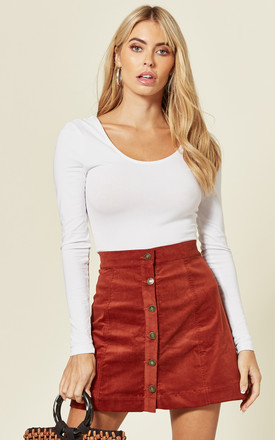 Button Through Cord Mini Skirt In Burnt Orange by LOVEMYSTYLE