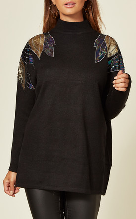 Black Jumper with Sequin Angel Wing Design by CY Boutique