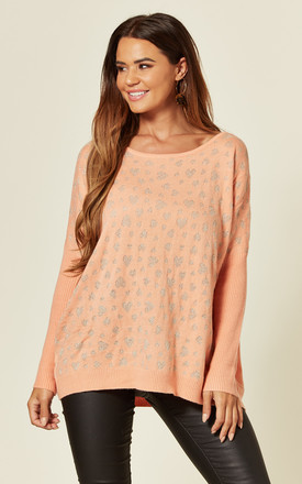 Oversized Jumper with Gold Heart Print in Orange by CY Boutique