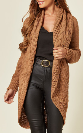 Chunky Pleat Long Cardigan In Caramel Mocha by Love Product photo