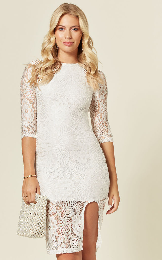 Long Sleeve Crochet Lace Midi Dress In White by LOVEMYSTYLE