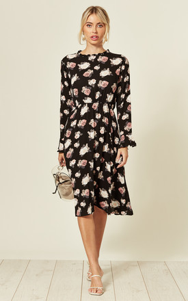 Long Sleeve Midi Dress In Black Floral Print by LOVE SUNSHINE Product photo