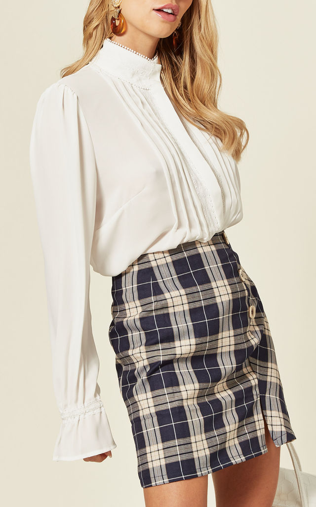 Navy Check Button Up Mini Skirt by Oeuvre