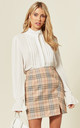 Check Button Down Mini Skirt in Brown by Oeuvre
