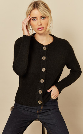 Cardigan With Contrasting Buttons In Black by Selected Femme Product photo