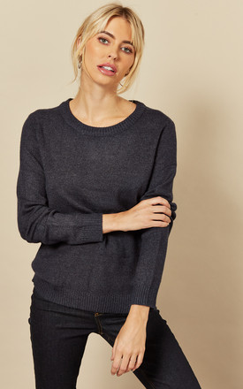 Knitted Top With Round Neck In Navy by VILA Product photo