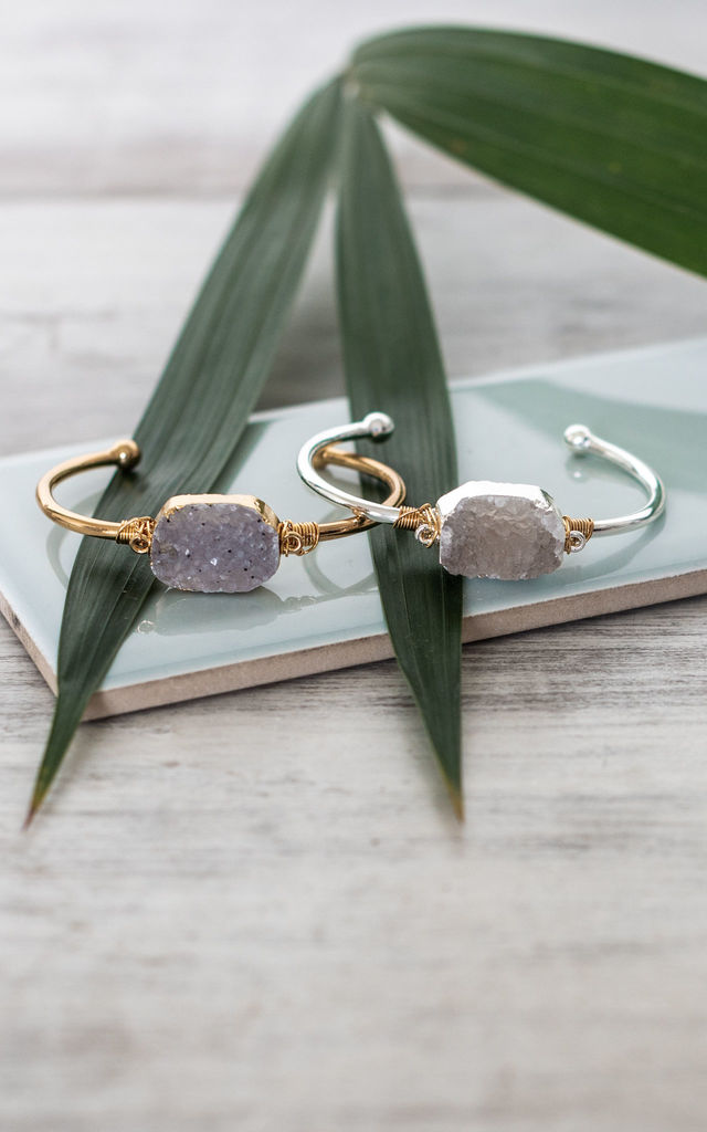 Gold Bangle with Druzy Gemstone by Collections by Hayley