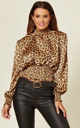 Satin High Neck Top With Shirred Waist In Leopard Print by LOVE SUNSHINE Product photo