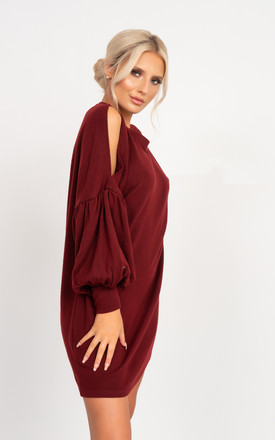 Camilia Split Sleeve Jumper Dress in Wine Red by Miss Attire