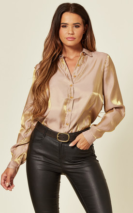 Shimmering Long Sleeve Shirt In Beige And Gold by LOVE SUNSHINE Product photo