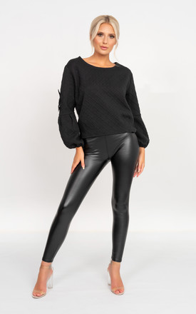 Beau Black Jumper with Bow Detail by Miss Attire