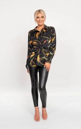 Chain reaction print shirt in black by Miss Attire