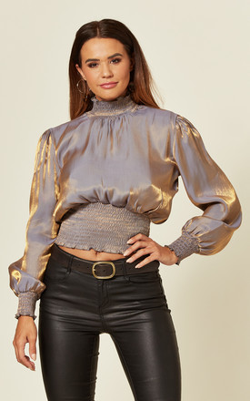 Satin High Neck Top With Shirred Waist In Blue And Gold by LOVE SUNSHINE Product photo