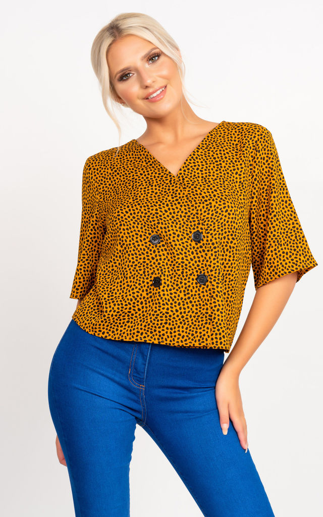 Nancy Cropped Blouse in Mustard Spotty Print by Miss Attire