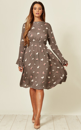 Long Sleeve Midi Dress In Brown Floral Print by LOVE SUNSHINE Product photo