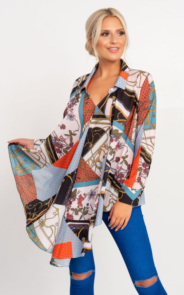 Frankie Blouse in Mixed Scarf Print by Miss Attire