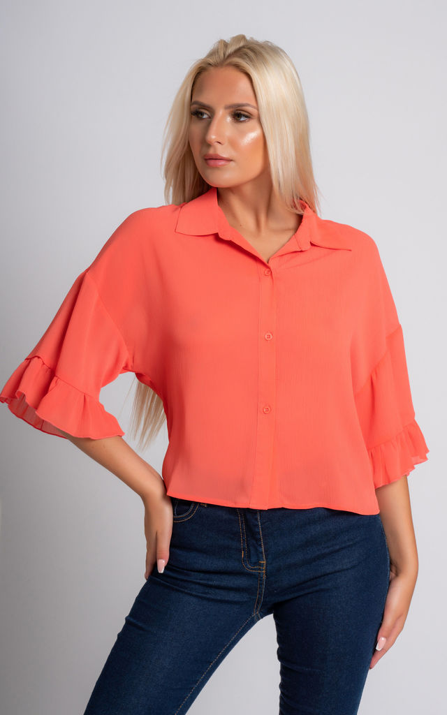Ceila Cropped Blouse In Coral | Miss Attire | SilkFred