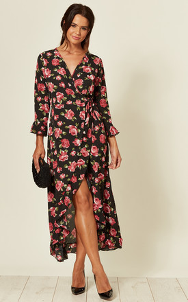 Frill Wrap Maxi Dress In Black Rose Floral Print by LOVE SUNSHINE Product photo