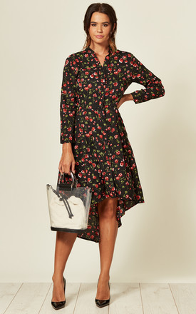 Button Front High Low Dress In Black Floral Print by LOVE SUNSHINE Product photo