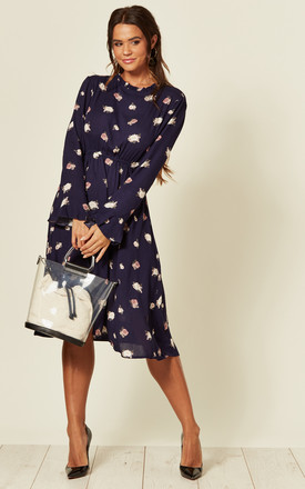 Long Sleeve Midi Dress In Navy Floral Print by LOVE SUNSHINE Product photo
