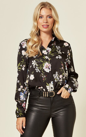 Satin Long Sleeve Shirt In Black Floral Print by LOVE SUNSHINE Product photo
