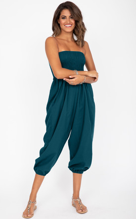 Teal 2 In 1 Cotton Harem Trousers/Bandeau Jumpsuit by likemary Product photo
