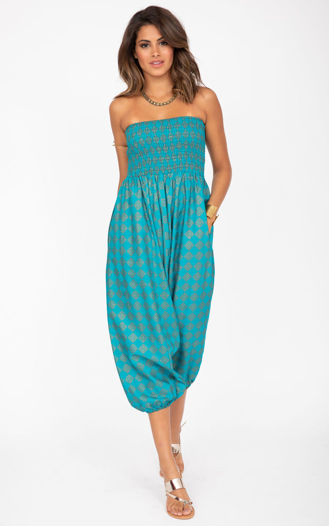 2 in 1 Harem Trousers/Bandeau Jumpsuit in Turquoise & Gold Applique by likemary