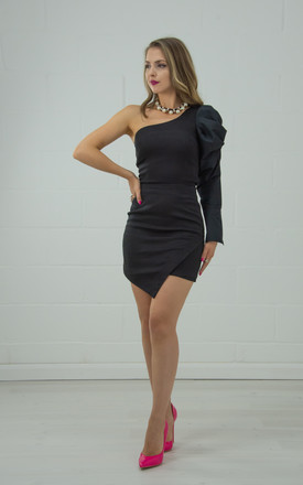 One Shoulder Puff Sleeve Top In Black by Tia Dorraine London Product photo