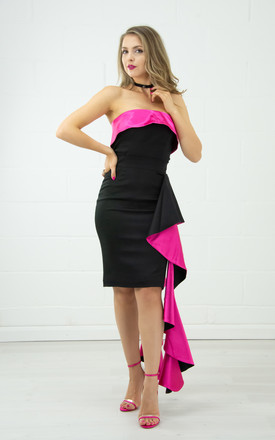 Strapless Top With A Fold Over In Black And Pink by Tia Dorraine London Product photo
