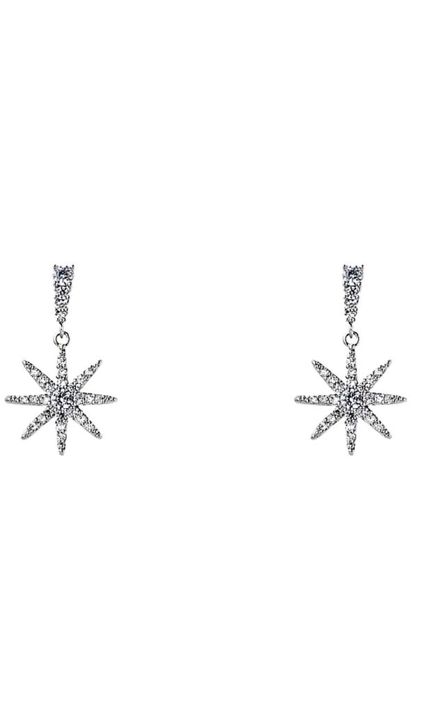 Silver Drop Earrings with Crystal Stars by Olivia Divine Jewellery