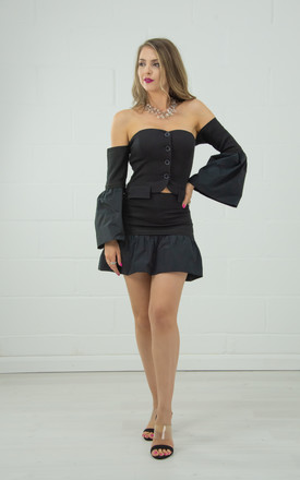 Off Shoulder Top With Flute Sleeves In Black by Tia Dorraine London Product photo