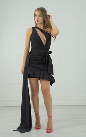 Black One Shoulder Top With Diagonal Neckline by Tia Dorraine London Product photo