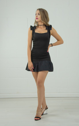 Black Fitted Top With Square Neckline by Tia Dorraine London Product photo
