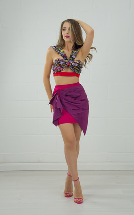 Chiffon Crop Top With Knotted Neckline In Floral Print by Tia Dorraine London Product photo