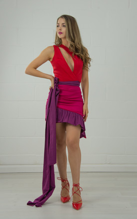 One Shoulder Top With Diagonal Neckline In Red & Purple by Tia Dorraine London Product photo