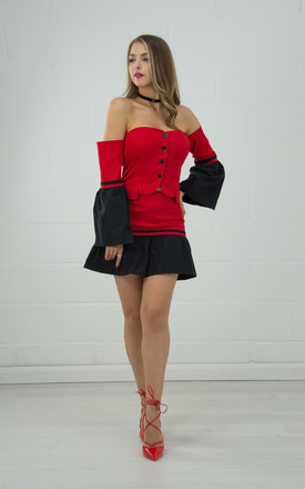 Off Shoulder Top With Flute Sleeves In Red & Black by Tia Dorraine London Product photo
