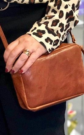 Morus Leather Box Clutch Bag in Walnut Brown by hydestyle london