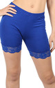 Zoe Royal Blue Jersey Cycle Shorts with Lace Trim by Oops Fashion