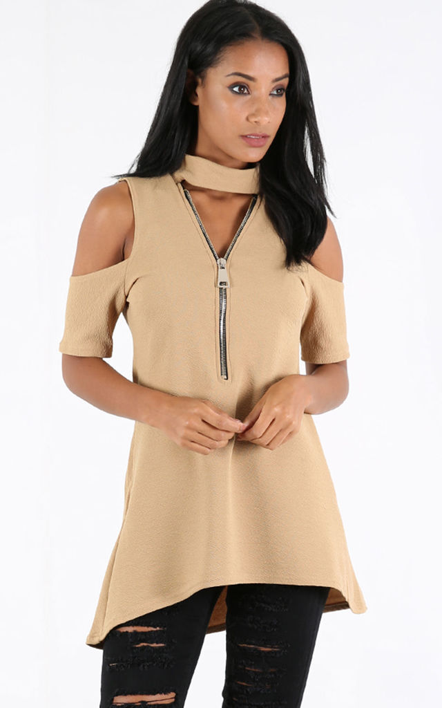 Carly Camel Cold Shoulder Dip Hem Top with Choker Neck by Oops Fashion