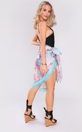 Pareo Bathilde sarong wrap in blue print-1 by Diamantine