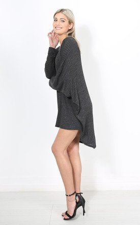 Eila Plunge Neck Batwing Top In Charcoal Grey by Oops Fashion