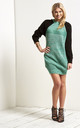 Saskia Colour Block Jumper Dress In Green by Oops Fashion