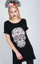 Candy Skull Print Tshirt Dress in Black by Oops Fashion
