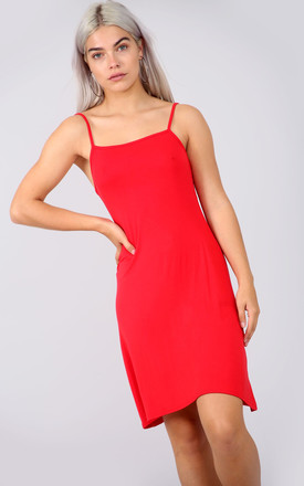 Strappy Jersey Mini Swing Dress in Red by Oops Fashion